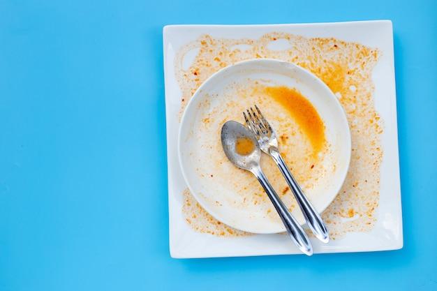 青の汚れた皿。上面図