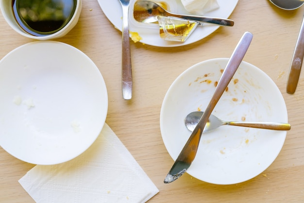 Dirty dishes on the table. household waste is harmful to the environment.