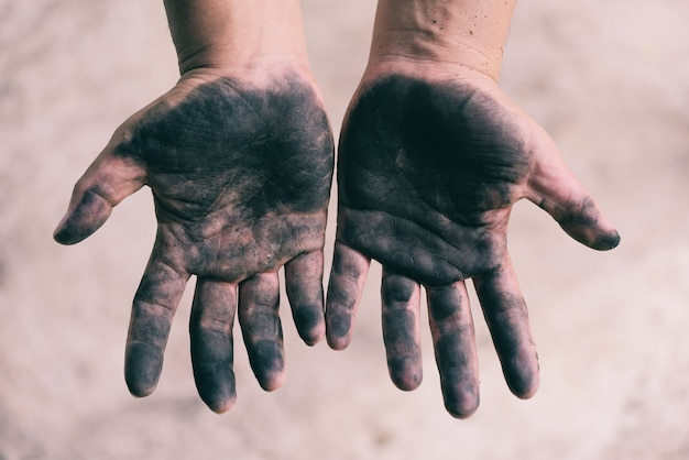 Dirty male hands