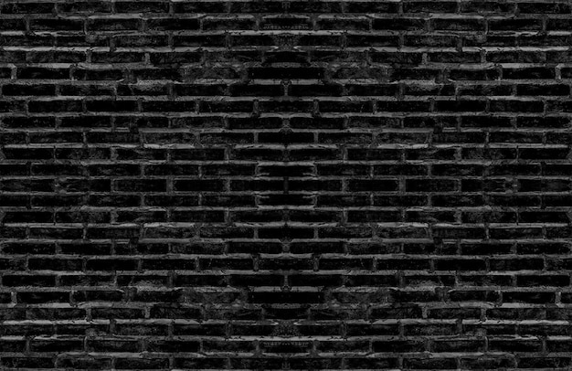 Dirty old black brick textured wall for dark tone vintage interior design.