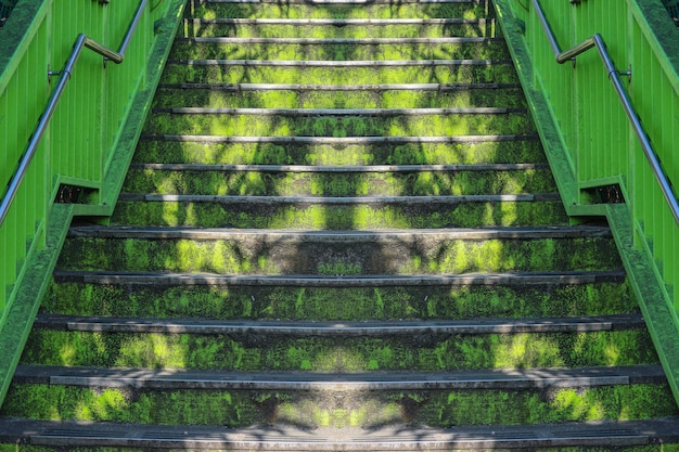 Dirty old green color panited cement staircase background.