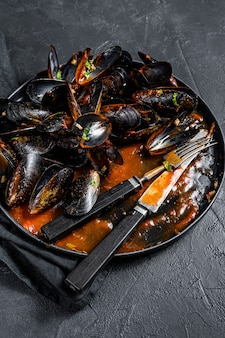 Dirty plate with the remains of dinner, mussel shells