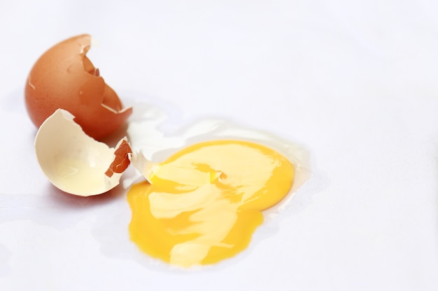 Dirty raw egg stain on white shirt in daily life