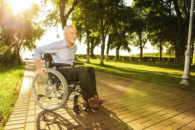 Disabled assistance. outdoor rehabilitation.