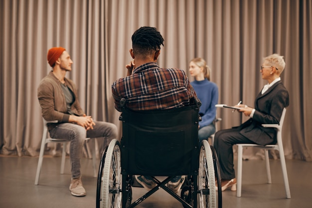 Disabled man has a meeting