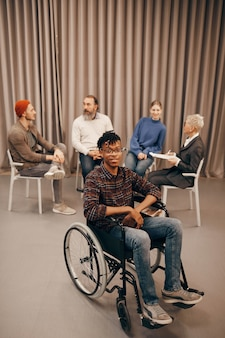 Disabled man at therapy lesson