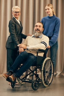 Disabled man with his family
