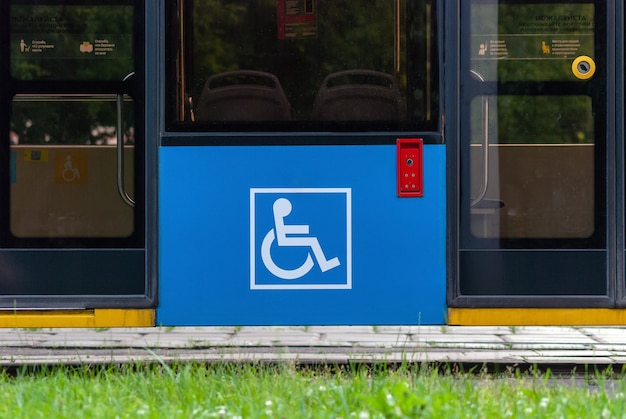 Disabled sign on cable car modern city transport accessibility