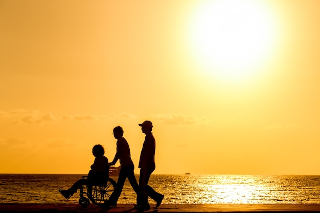 Disabled in a wheel chair. silhouettes