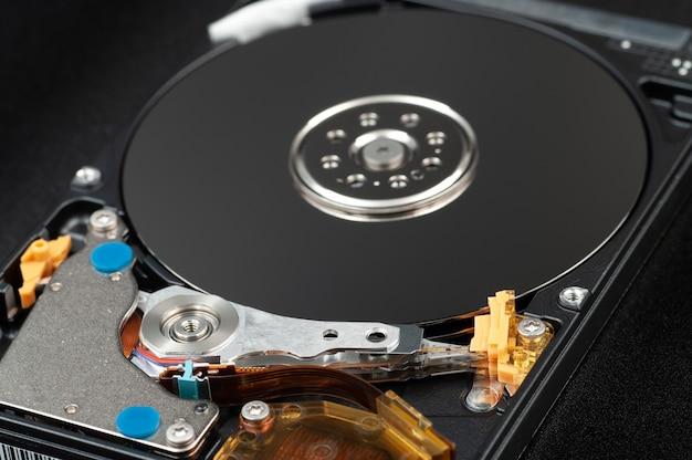 분해 된 노트북 하드 디스크 드라이브, hdd.