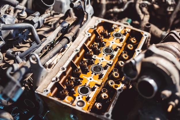 Disassembled motor vehicle for repair.