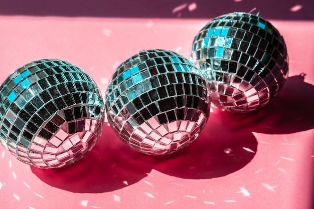 Disco ball bauble on pink .  party