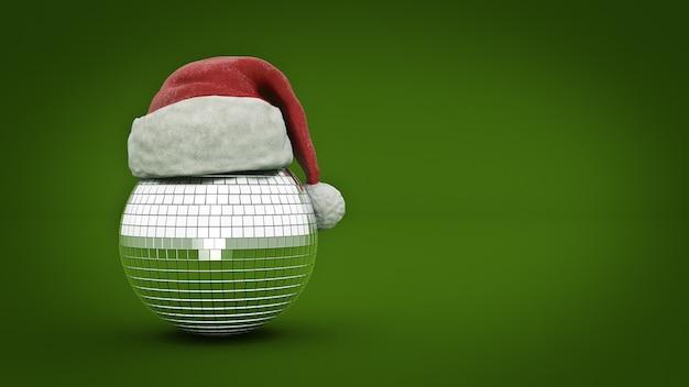Концепция дискотечный шар с рождеством 3d рендеринг
