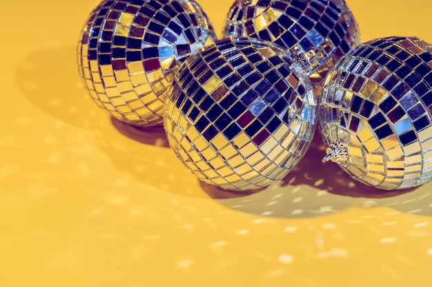 Disco ball . isolated on yellow background