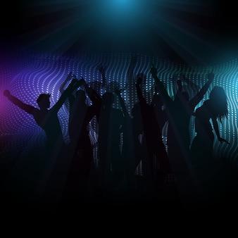 光線と抽象的な背景にディスコ群衆