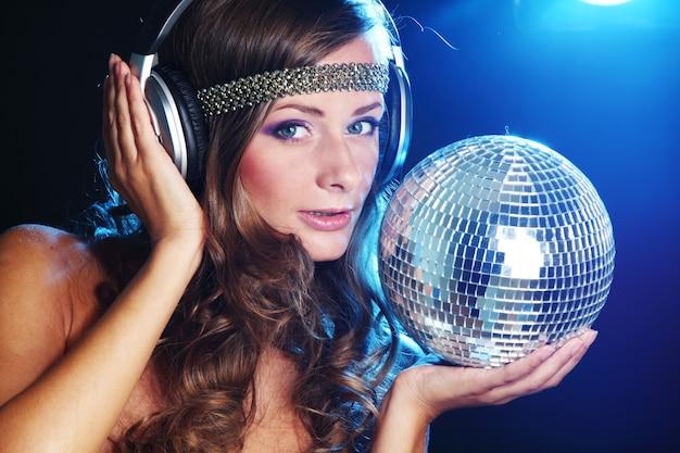 Disco girl music in head phones