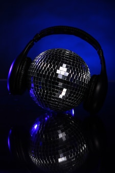 Discoball with headphones on top