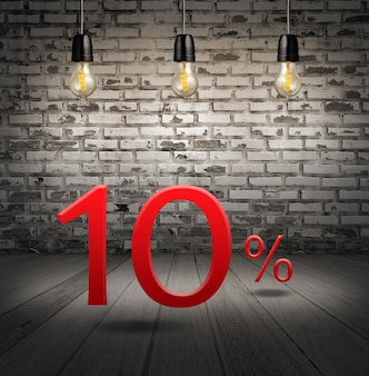 Discount 10 percent off with text special offer your discount in interior with white brick