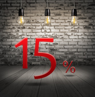 Discount 15 percent off with text special offer your discount in interior with white brick