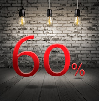 Discount 60 percent off with text special offer your discount in interior with white brick