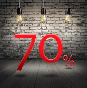 Discount 70 percent off with text special offer your discount in interior with white brick