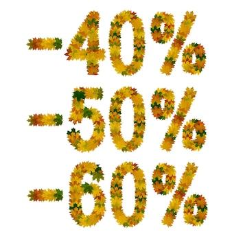 Скидка сорок, пятьдесят, шестьдесят процентов. текст из желтых, зеленых и оранжевых кленовых осенних листьев. изолировать на белом фоне.
