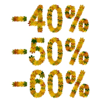 Discount forty, fifty, sixty percent. text from yellow, green and orange maple autumn leaves. isolate on white background.