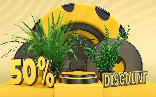 Discount podium stage background for product presentation 3d rendering