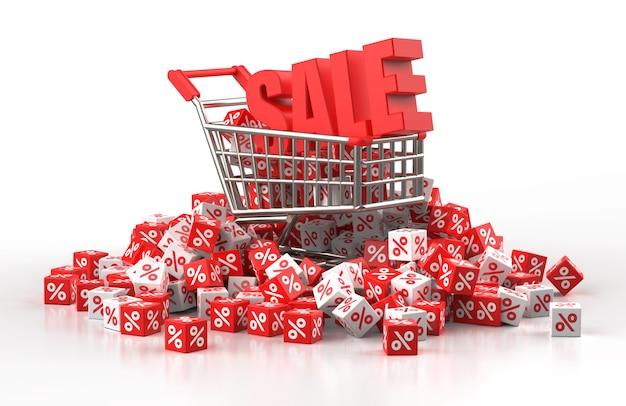 Концепция продажи со скидкой с тележкой и кучей красно-белого куба с процентами в 3d иллюстрации