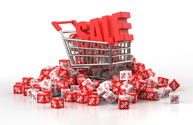 Discount sale concept with trolley and a pile of red and white cube with percent in 3d illustration