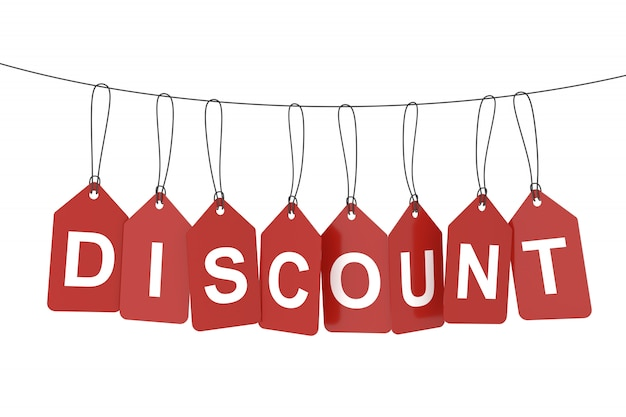 Discount word on hanging tags or labels. 3d rendering.
