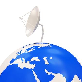 Dish antenna on earth globe isolated on white background