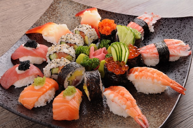 Dish of assorted sushi