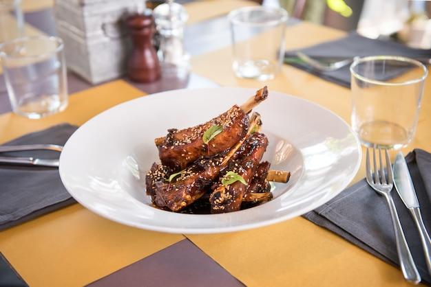 Dish of marinated spicy pork ribs