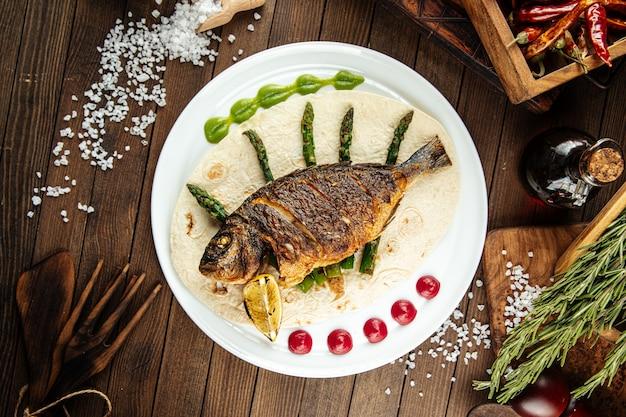 Блюдо из изысканной рыбы дорада гриль