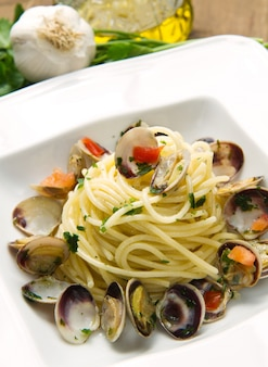 Dish of spaghetti with clams