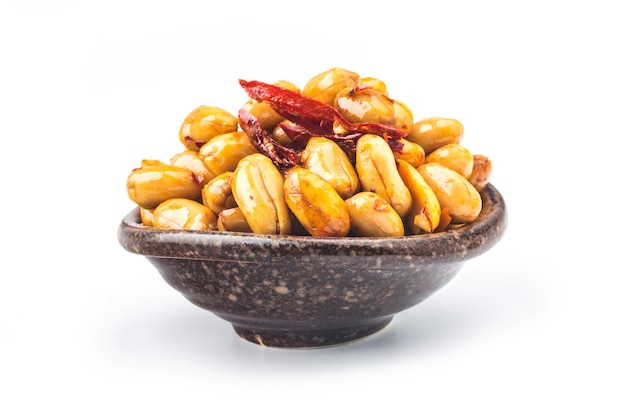A dish of spicy peanuts