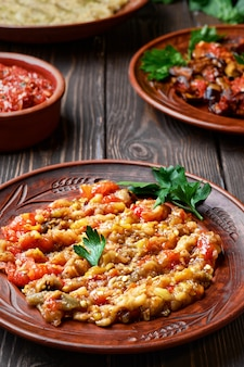 Dish of turkish or caucasian cuisine (abu ganush