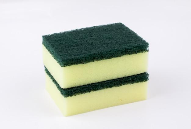 Dish washing sponge on white background. closeup