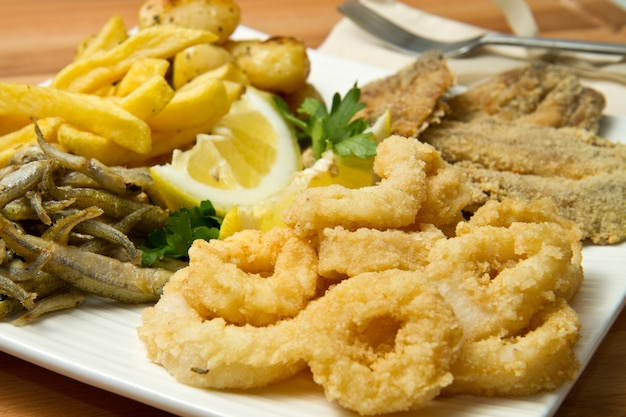 Dish with fried food