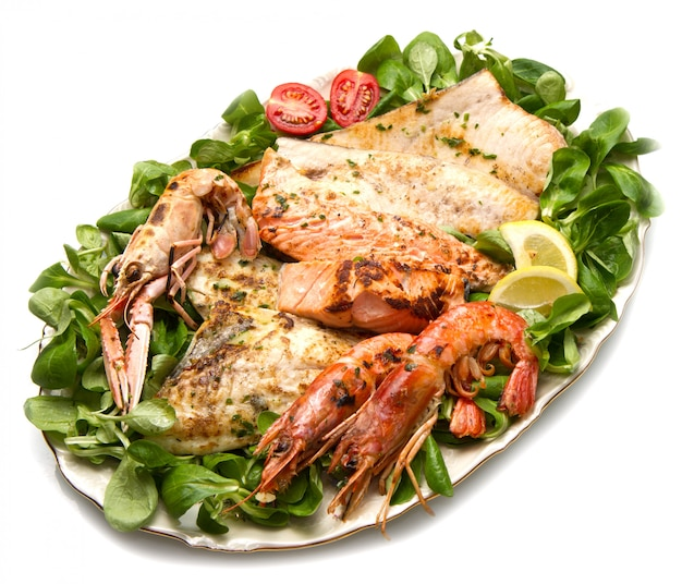 Dish with mixed grilled fish