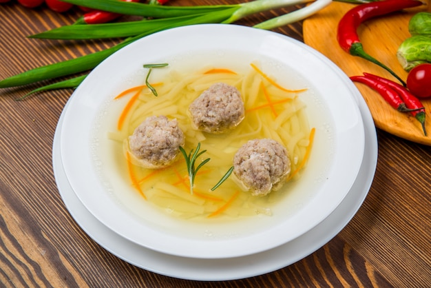 Dish with rabbit meat with vegetables