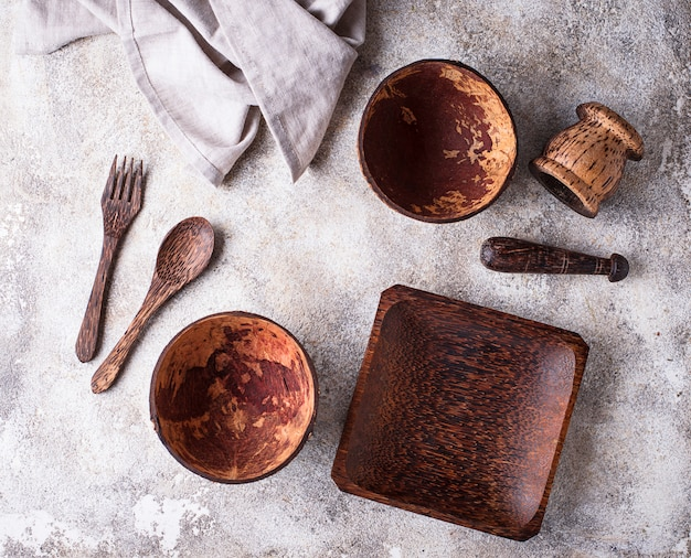 Dishes made  from coconuts shell