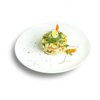 Dishes of traditional russian cuisine. restaurant serving. white surface.