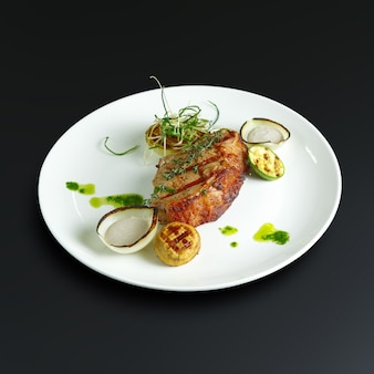 Dishes of traditional russian cuisine. restaurant serving