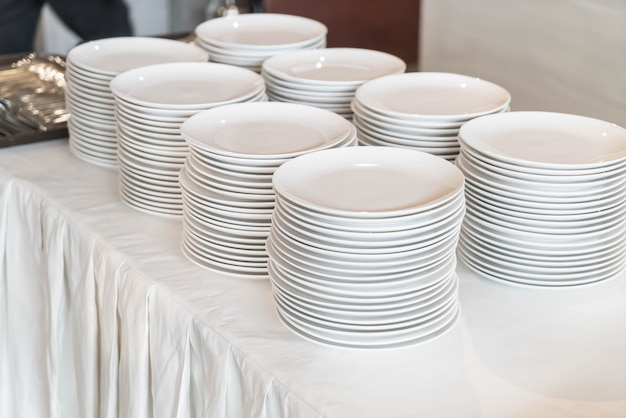 Dishware on table for beffet