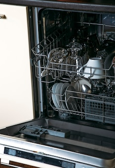 Dishwasher with dishes