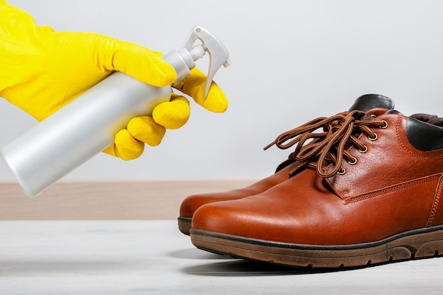 Disinfection to clean shoes from coronavirus and bacteria.