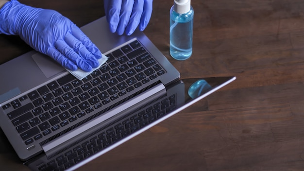 Disinfection of a computer keyboard.