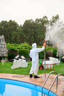 Disinfection of showers in the pool
